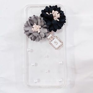 iPhone 7 Luxury Black Gray Floral Pearl Clear Case